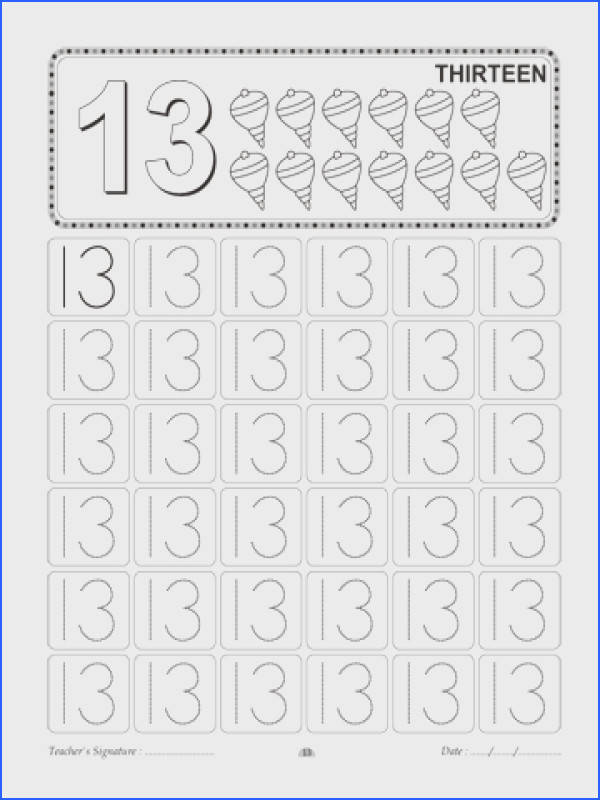 Number Writing 13 Sheet