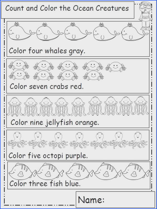Ocean Animal Themed Math Worksheets