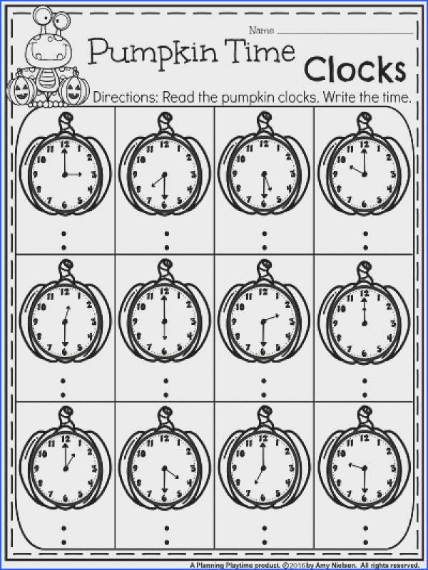 First Grade October Worksheets Pumpkin Clocks Telling Time