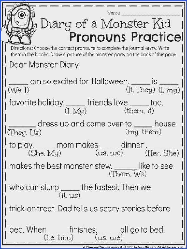 First Grade Halloween Worksheets Diary of a Monster Kid Pronouns Practice