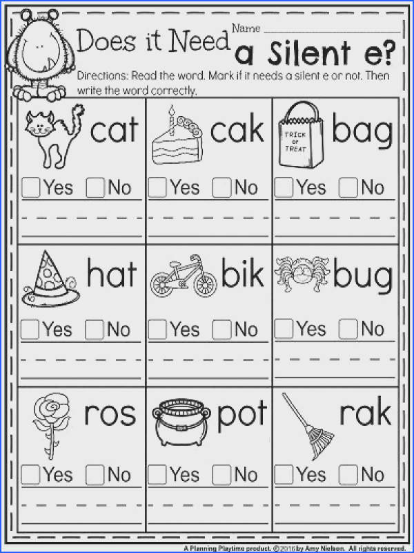October First Grade Worksheets Does it Need a Silent e