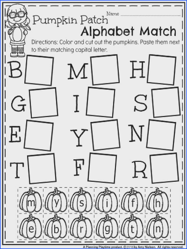 October Kindergarten Worksheets Pumpkin Patch Alphabet Match