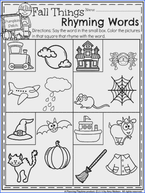 Fall Kindergarten Worksheets for October Fall Things Rhyming Words