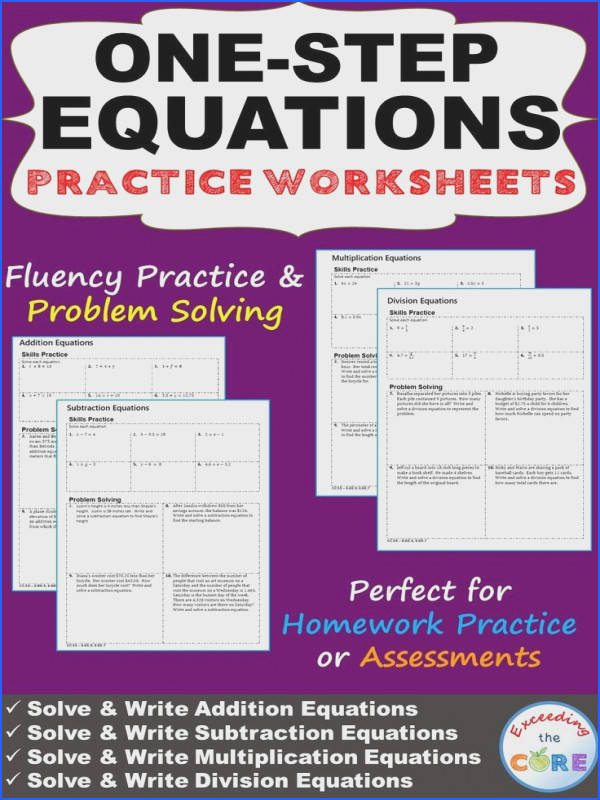 ONE STEP EQUATIONS Homework Worksheets Skills Practice & Word Problems This resource includes 4
