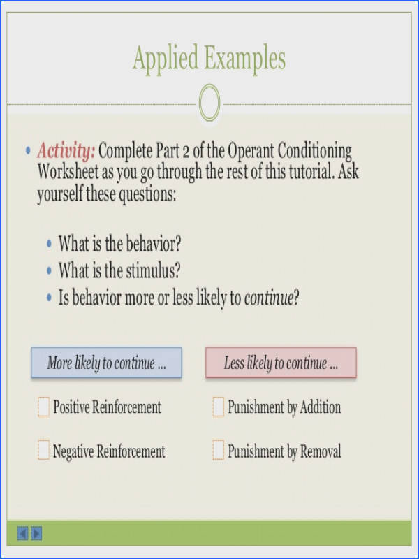 Operant Conditioning Worksheet 11