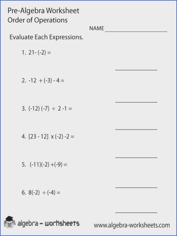 Order Operations Pre Algebra Worksheet