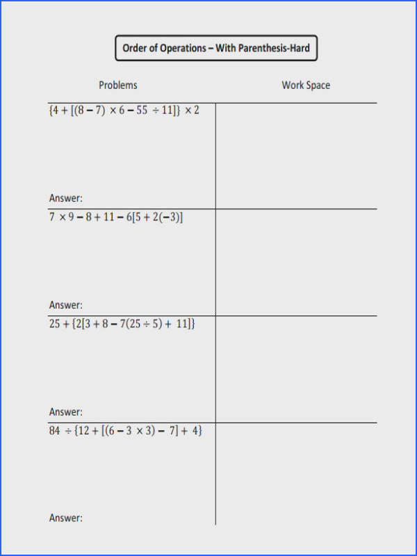 Downloadable Order of Operations Worksheet
