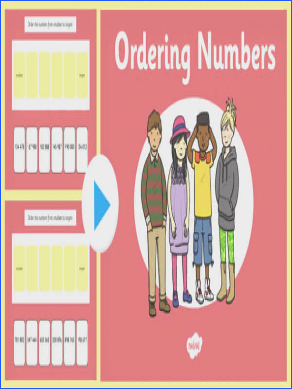 Ordering Numbers to PowerPoint maths presentation starter information examples