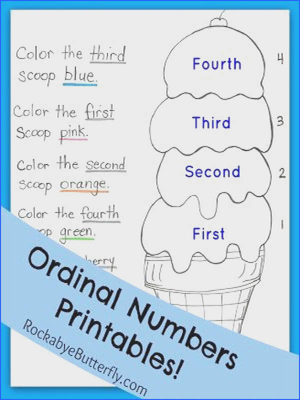 "Ordinal Numbers Printables Pack Let s learn what ""First Second Third Fourth"