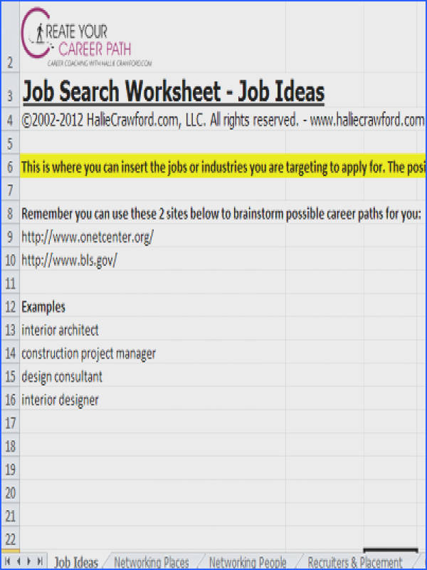 Organize your job search FREE worksheet from momcorps