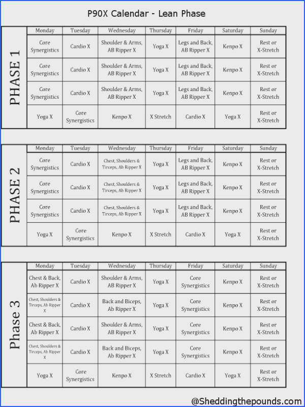 P90X lean phase work out schedule