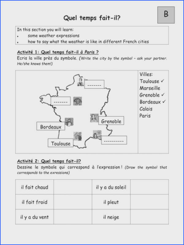 Pairwork Worksheets on Weather in em French em