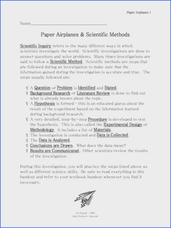 Paper Airplanes and Scientific Methods 7th 9th Grade Worksheet