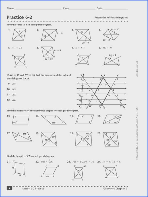 Properties Of Parallelograms Worksheet Answers Mychaume Com