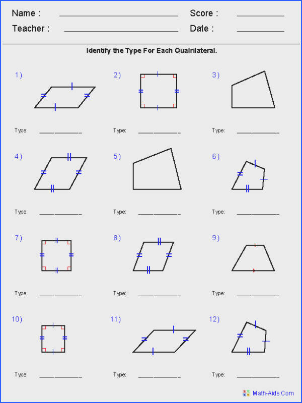 Parallelogram Worksheet Geometry Worksheets for all Download and Worksheets