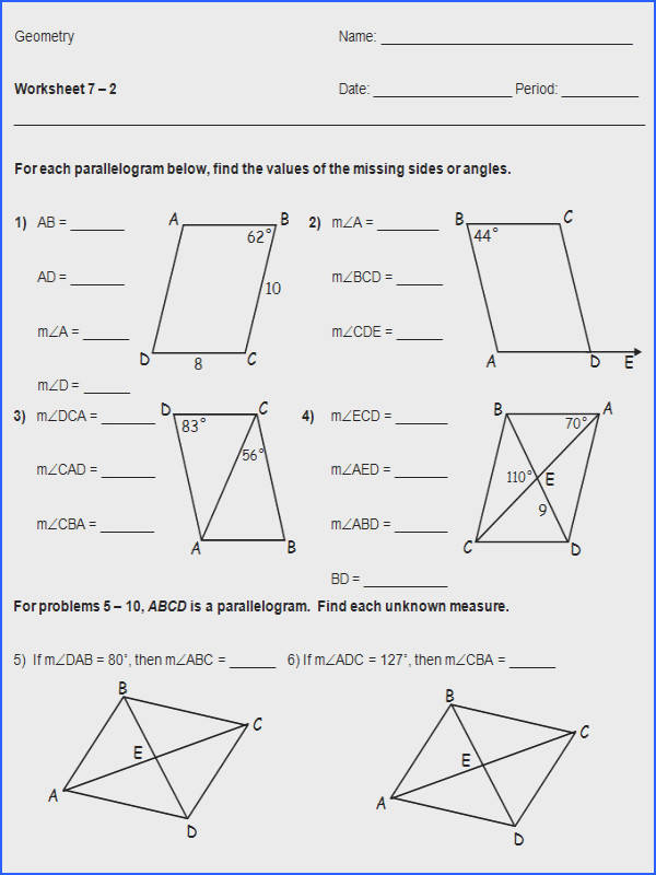 Parallelogram Worksheet Geometry Worksheets for All Image Below High School Geometry Worksheets