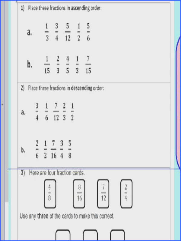 pare order fractions paring and ordering fractions KS2 Year 5 6 WORKSHEET ONLY