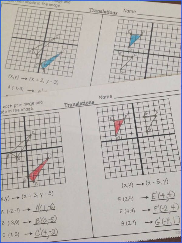 Partner Practice worksheets for transformations Students plete two problems for translations rotations dilations