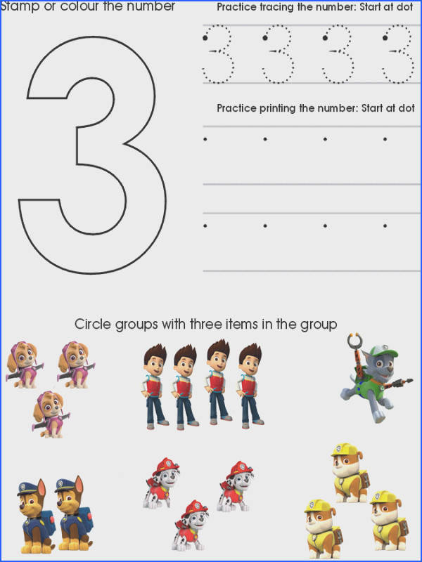Paw Patrol Number Worksheet 3 Preschool