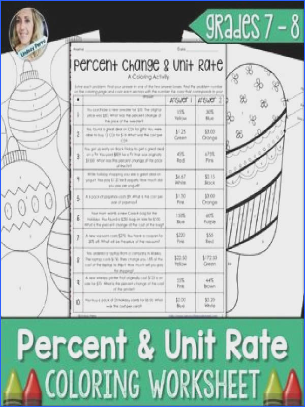 Percent and Unit Rate Coloring Worksheet