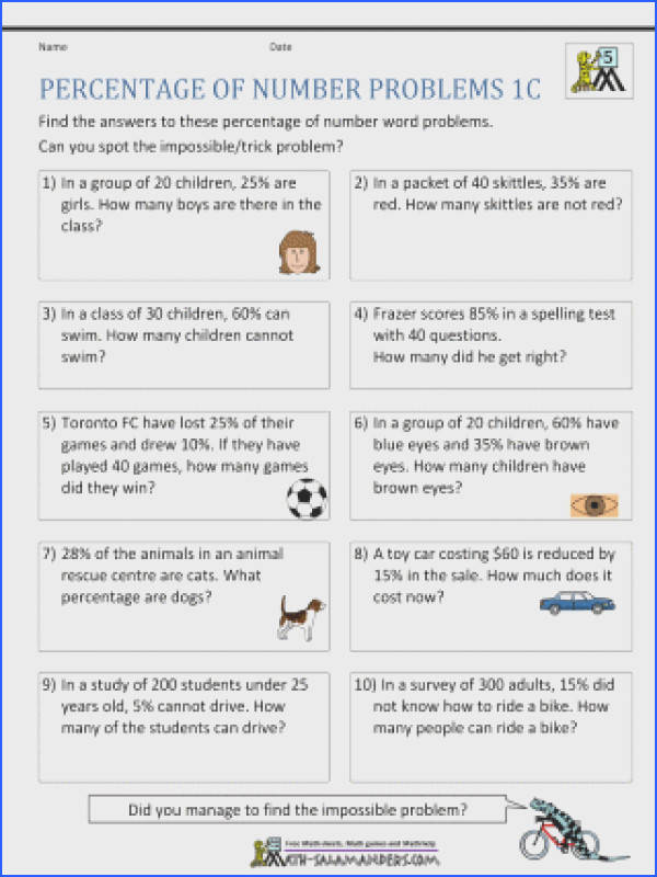 Worksheets Percentage Word Problems Number 6th Grade Math With Answers Free 320