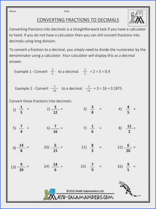Percents Fractions And Decimals Worksheets Convert To Decimal Equivalent Forms Lessons Percentages Gcse Ordering Ks2