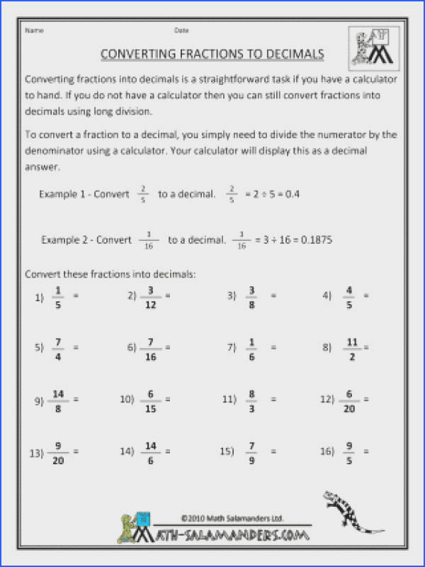Fraction To Decimal Worksheet Mychaume