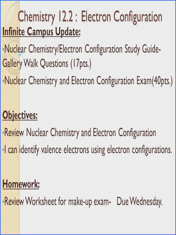 Chemistry 12 2 Electron Configuration Chemistry 12 2 Electron Configuration Infinite Campus Update Nuclear Chemistry