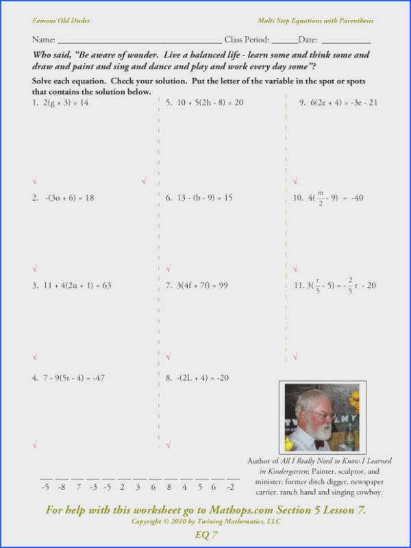eq07 multi step equations with parenthesis bining like terms worksheet 4th grade a1eq an image
