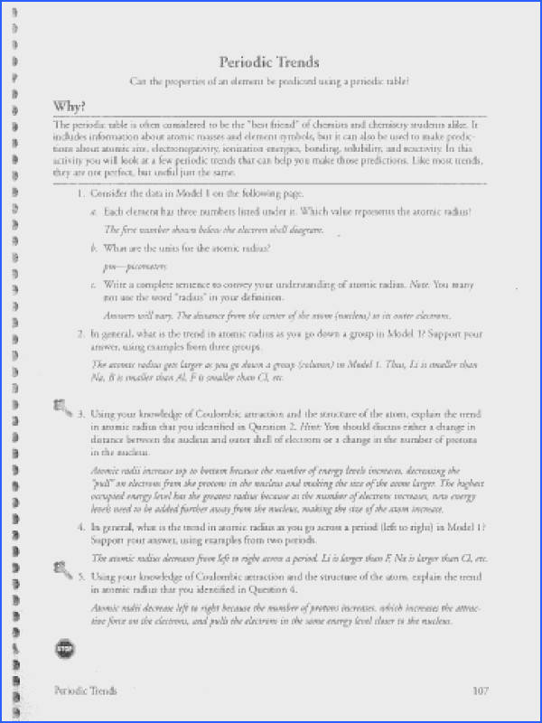 Periodic Trends Worksheet Answers Pogil Worksheets