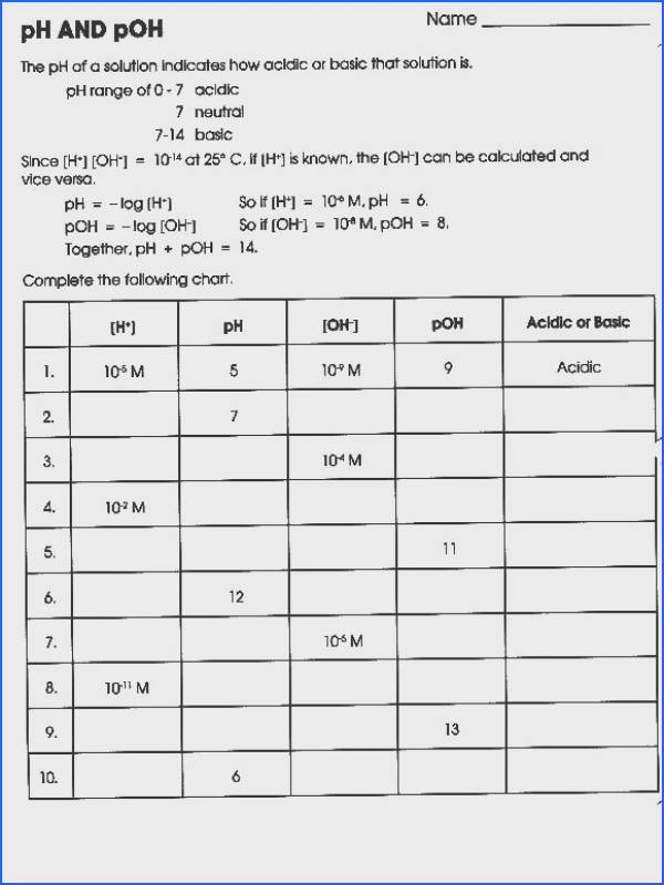 37 Ph Calculations Worksheet Calculating Ph Poh H3o Oh Worksheet