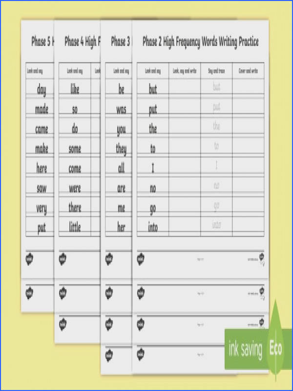 Phase 2 to 5 High Frequency Words Writing Practice Worksheet Activity Sheets Pack Australia