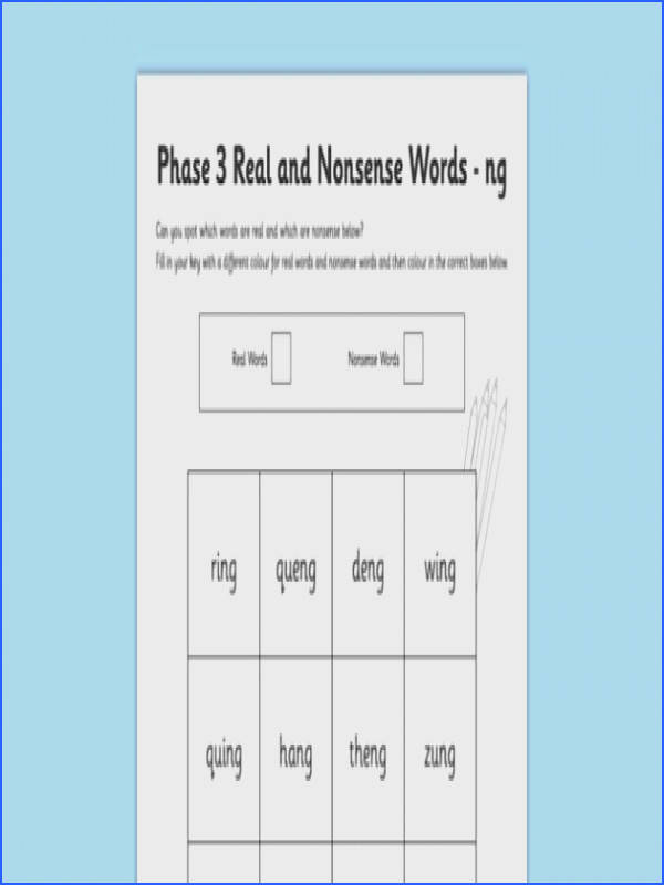 Phase 3 ng Colour by Phoneme Real and Nonsense Words Worksheet Activity Sheet phase