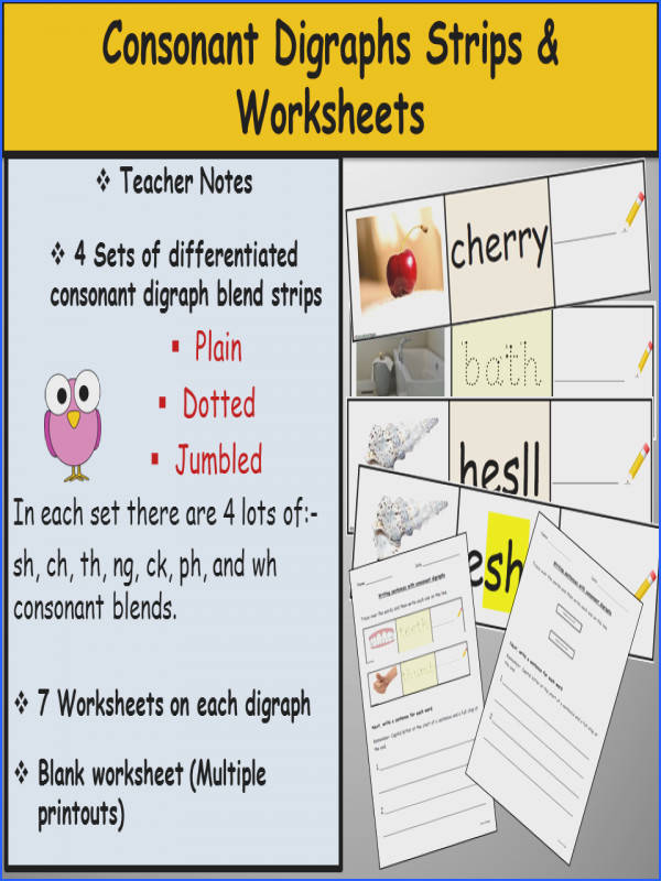Phonics Consonant Digraph Strips and Worksheets Teacher Notes