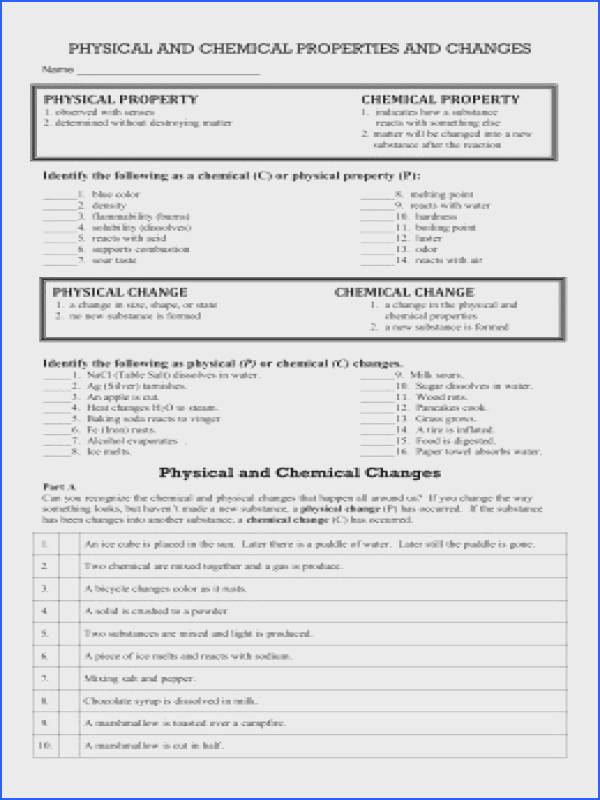 chemical properties · physical and chemical changes worksheet
