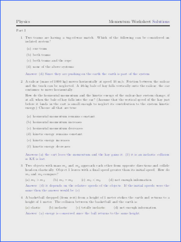 Physics Momentum Worksheet Solutions Archives