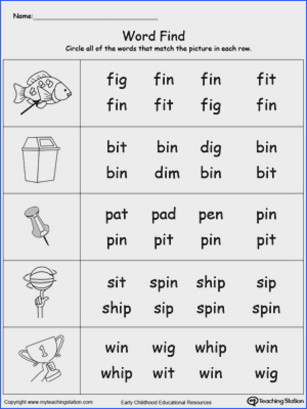 FREE Picture Word Find IN Words Worksheet Topics Word