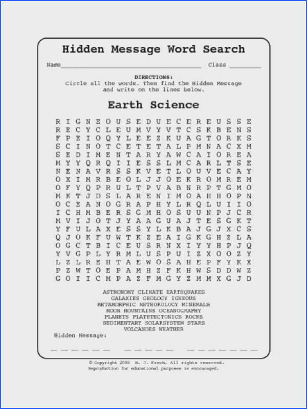 Earth Science Worksheets Geography