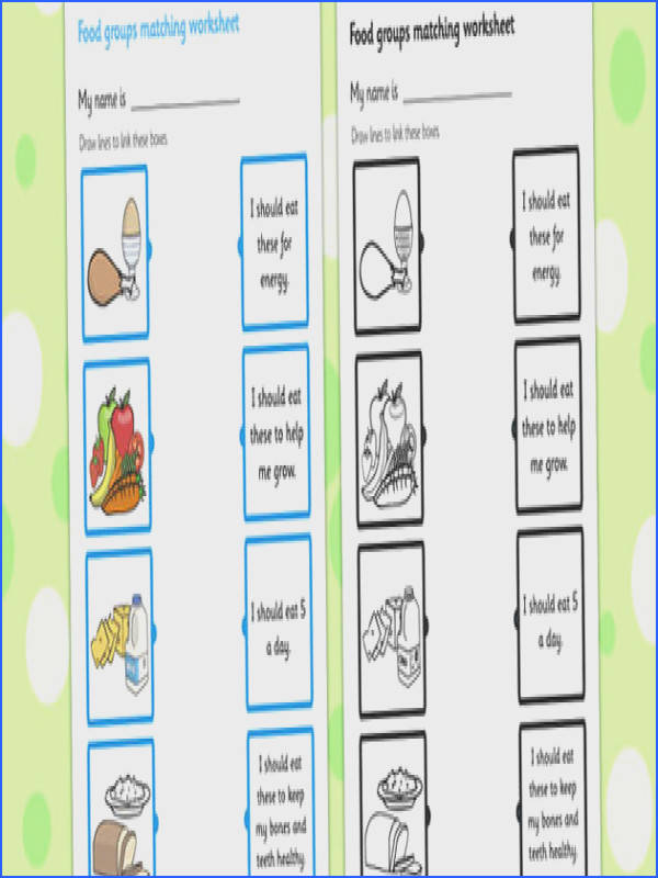 This great matching activity worksheet helps your children familiar with the different food groups and their role in keeping us healthy