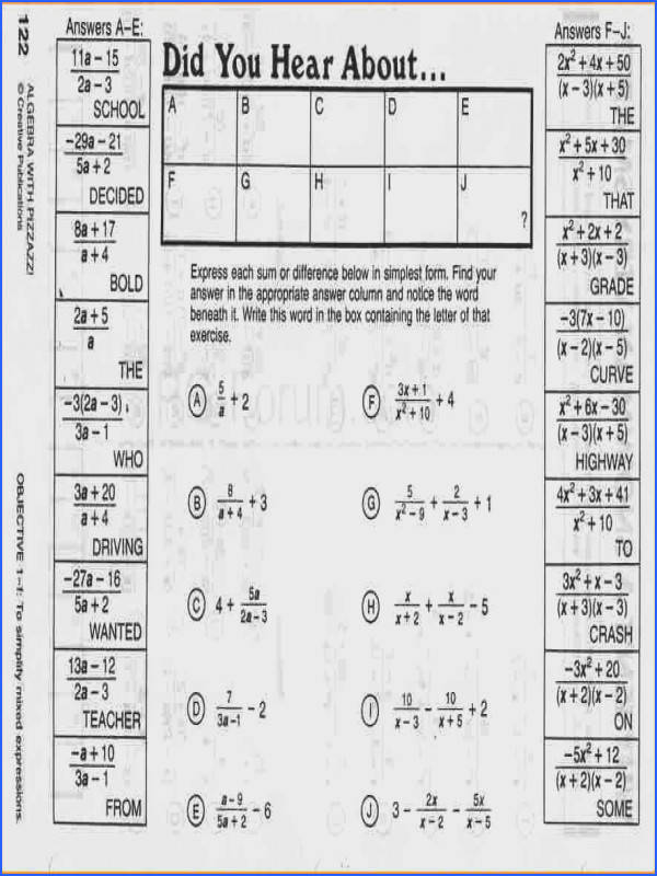 Pizzazz Math Worksheets