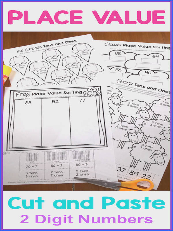 Place Value Cut and Paste Place Value Worksheets 2 Digit Numbers