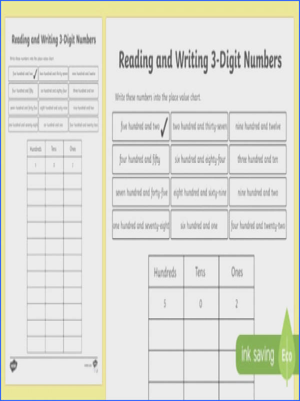 Place Value Reading and Writing 3 Digit Numbers Worksheet Activity Sheet Scottish