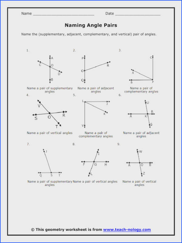 Angles Worksheets · Geometry plementary And Supplementary Angles Worksheets