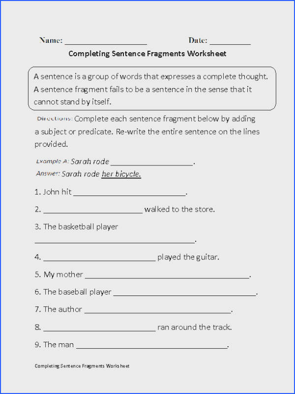 pleting Sentence Fragments Worksheet Beginner