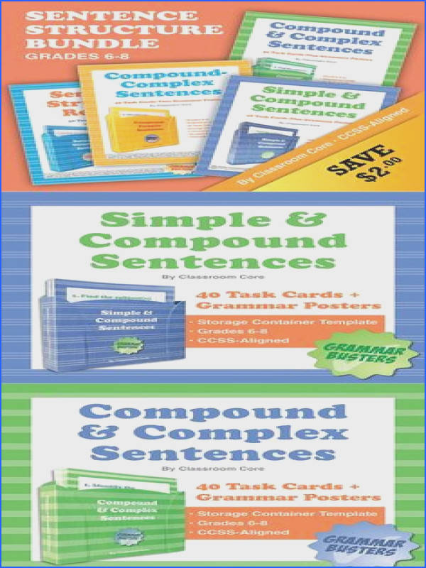 Sentence Structure Bundle 160 Task Cards Plus Grammar Posters & Quiz Save $2 when · Grammar Posters plex Sentences pound