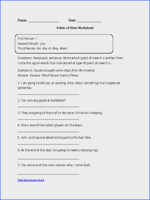Points of View CCSS ELA Literacy RI 8 6 Reading Informational Text Worksheet