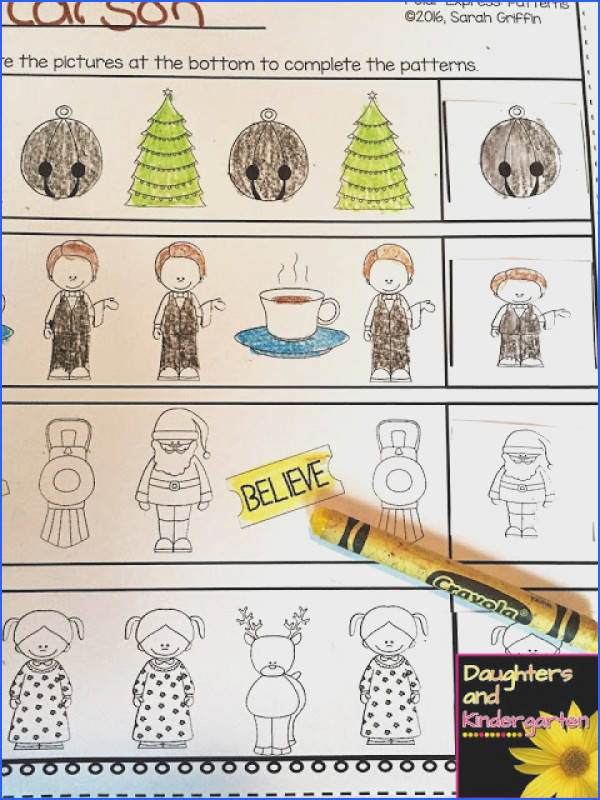 Polar Express patterns color cut and paste worksheet preschool