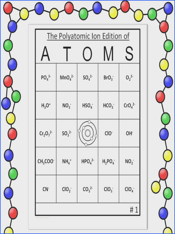 Polyatomic Ion Bingo This game es with 30 unique student cards with formulas AND 30