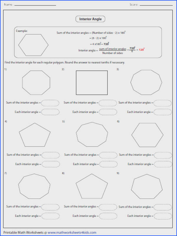 Angles In Polygons Worksheet Mychaume