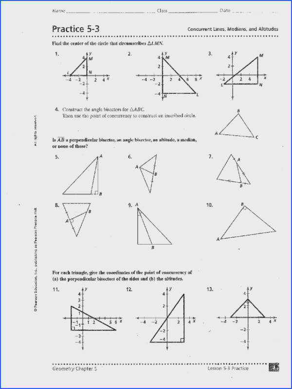 Practice 5 3 Concurrent Lines Medians and Altitudes Worksheet for 9th 11th Grade